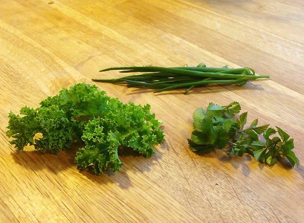 Tre grønne fra haven i marts